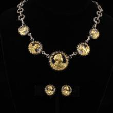 Sandor gilt coin Classical Greek medallion and silver filigree necklace and earrings set.