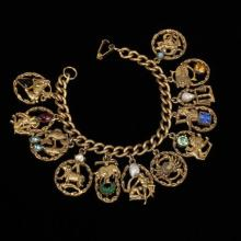 Florenza heavy brass & jeweled zodiac charm bracelet.