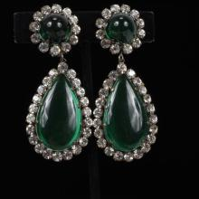 Kenneth J. Lane KJL Vintage Couture Runway Emerald Green & Rhinestone Jelly Drop Earrings.