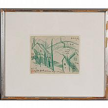 Oscar Florianus Bleumner, (American; 1867-1938), Long Hill, New Providence, New Jersey, green / blue crayon on paper, 4 3/8