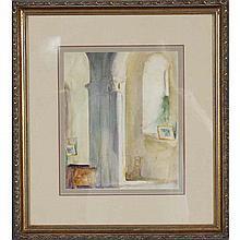 Jerry Farnsworth, (Massachusetts/Florida;1895-1982), interior with column, watercolor on paper, Sight; 11