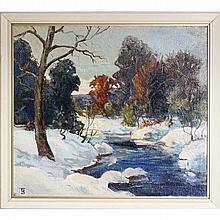 Thomas P. Barnett, (Missouri; 1870 - 1929), early winter landscape, oil on burlap, 30