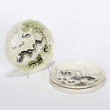 Set of four Choisy LeRoi / Higgins & Seiter French Majolica rabbit plates; each with a different scene.
