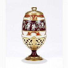 Hand enameled 19th Century porcelain lidded urn or jar.
