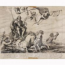 After an engraving by Cornelis Dalen (Flemish; 1638-1664) allegorical scene; Neptune rising from the sea;