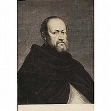 Portrait of Sebastiano del Piombo engraving after Titian by Cornelis Van Dalen;