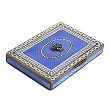 Austrian .900 silver and enamel compact / box with guilloche and faceted stones.