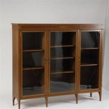 English Inlaid Three Glass Door Bookcase
