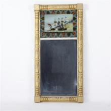 Federal style mirror with reverse-painted scene of naval battle of the War of 1812.