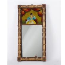 Federal Style Eglomise Mirror of Woman in Repose