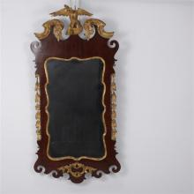 American Federal Chippendale Style Gilt Mirror with Hand-Carved Eagle, Leaves and Flowers
