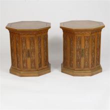 Romweber Viking Oak Pair Octagonal Nightstand Cabinets / Side Tables.