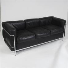 Le Corbusier Cassina black leather sofa.
