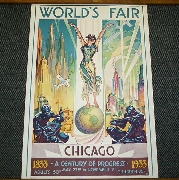 Glen C. Sheffer (American, 1881-1948) Chicago World's Fair, Century of Progress 1833-1933 Vintage travel poster