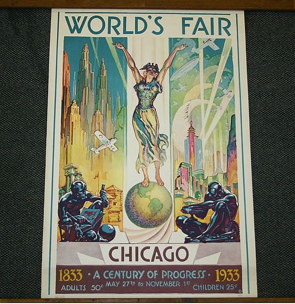 Glenn C. Sheffer (American, 1881-1948) Chicago World's Fair, Century of Progress 1833-1933 Vintage travel poster