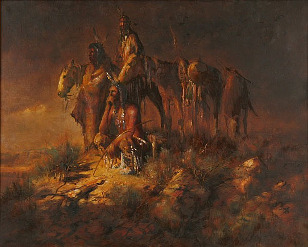 Buck McCain, (1943-), Native American Indian Camp, oil on canvas, 24