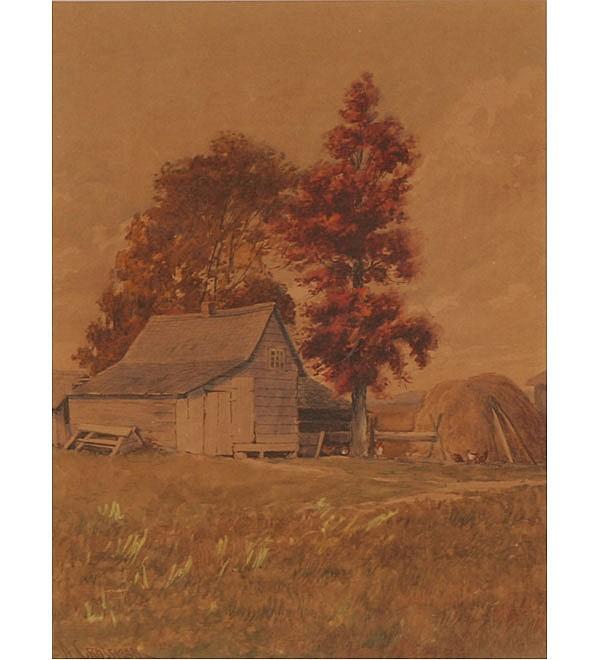 Abner Crossman (American, 1847-1932) Barnyard scene with chickens watercolor