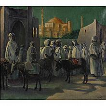 Herbert Kniffin, (American; b. 1886), Middle Eastern Scene, Oil on canvas., 17 3/4