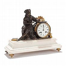 French bronze and ormolu mounted figural mantel clock