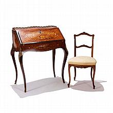 Louis XV style marquetry inlaid writing desk with chair.