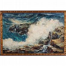 Mabel Palmer, (California; 1903-1998), seascape with crashing waves, oil on canvas, 24