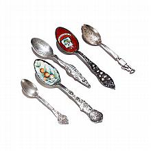 Lot of 5 sterling Souvenir spoons, Florida, Arkansas, Louisiana
