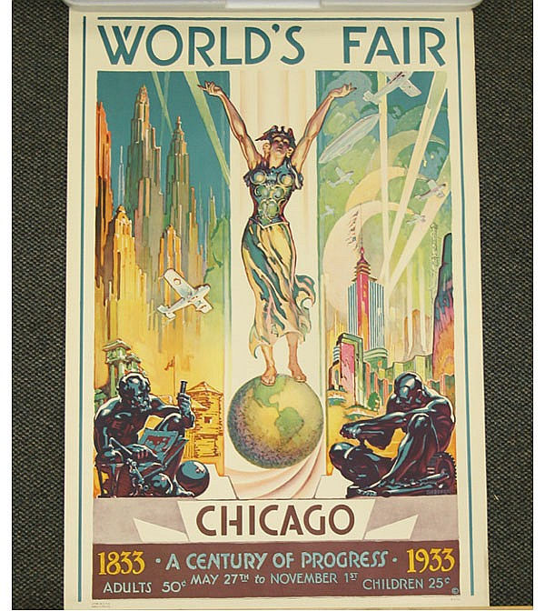 Glenn C. Sheffer (American, 1881-1948) Chicago World's Fair Century of Progress 1833-1933 vintage travel poster