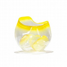 Dale Chihuly, American; b. 1941, Sun Yellow Basket Set with Terra Cotta Lip Wraps, blown glass, 14