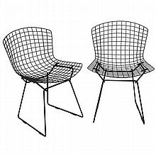 Bertoia pair dining chairs for Knoll.