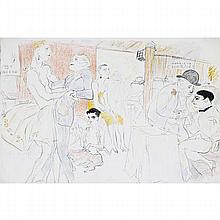 Marcel Vertes, (New York/Hungary; 1895 - 1961), The Dance, Paris Night Club 1920s, hand colored lithograph, 15