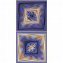 Victor Vasarely, (France/Hungary; 1906-1997), Bi-Rhombs, Silkscreen on paper, 43