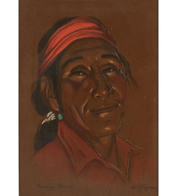 Navajo Indian Portrait Pastel Christofferson