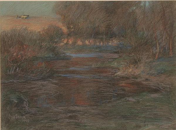 Otto Stark Meandering Stream Plowman Pastel 1907