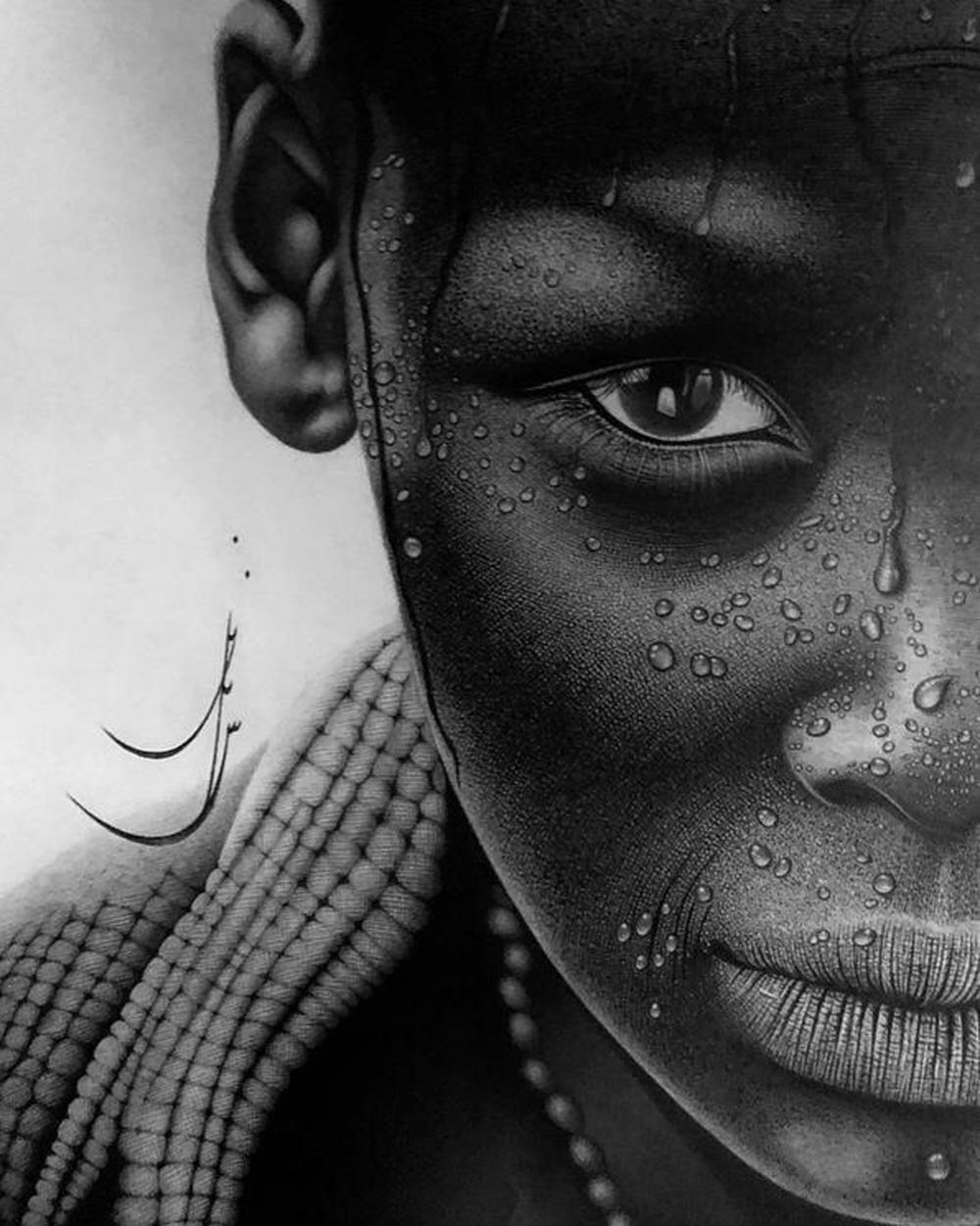A Hyper-realism Charcoal Drawing Signed By Sanaz