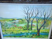 Signed Hilda Chancellor Pope 1913-1976:  Watercolor, Valley Scene