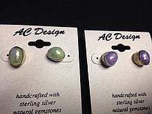 Two Pairs of AC Design: Handcrafted with Sterling Silver with Natural Gemstones Earrings- Pearls