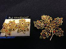 Vintage RJ Graziano earrings with Matching Brooch set with gorgeous rhinestones
