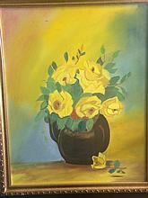Still Life of Flowers Painted in Acrylic on Canvas- signed Treacy