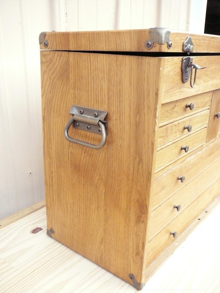 Art Crafts Wood Tool Chest Carpenter Machinist Storage Craft Work Carving Box