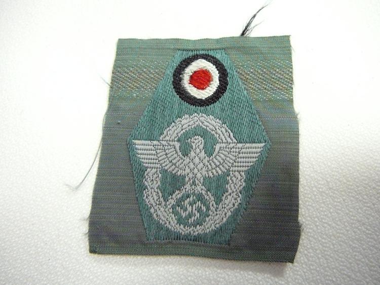 Ww2 German Police M43 Hat Badge: WW2 German Police M43 Cloth Cap Insignia