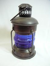 8 INCH NAUTICAL LANTERN WITH COBALT BLUE SHADE CONTEMPORARY