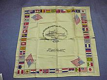 SOUVENIR HANKIE FROM USS WEST VIRGINIA - ALMOST SUNK AT PEARL HARBOR