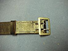 WW2 GERMAN OFFICERS BLACK LEATHER OFFICERS BELT AND BUCKLE