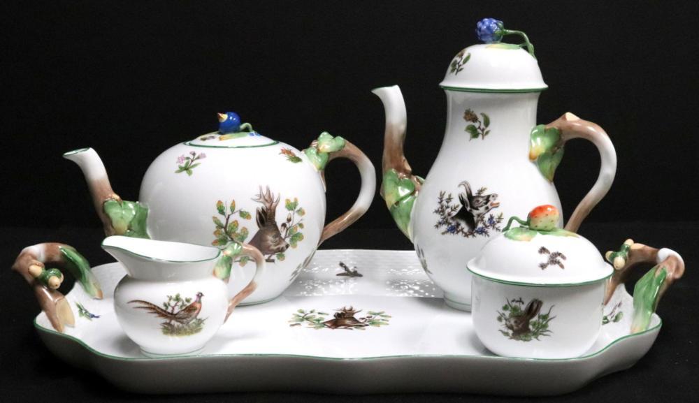 """Herend """"Hunter Trophies"""" Porcelain Tea Set"""