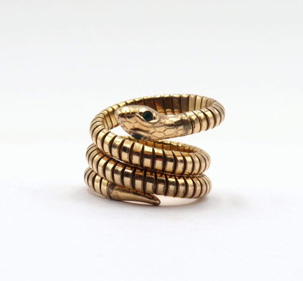 14Kt Yellow Gold & Emerald Snake Ring