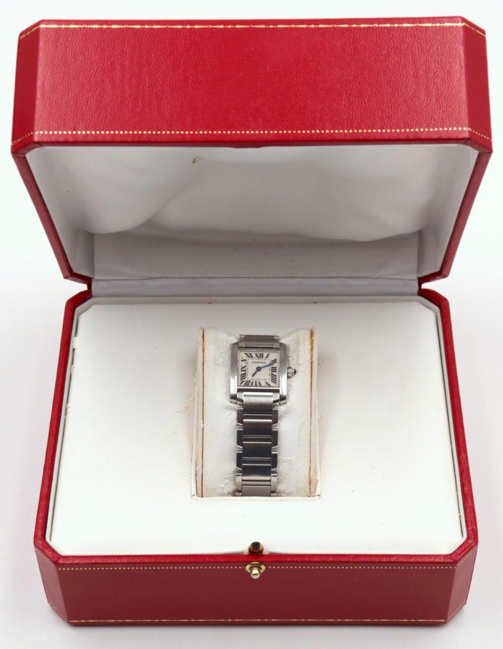 "Cartier ""Tank"" Stainless Steel Watch"
