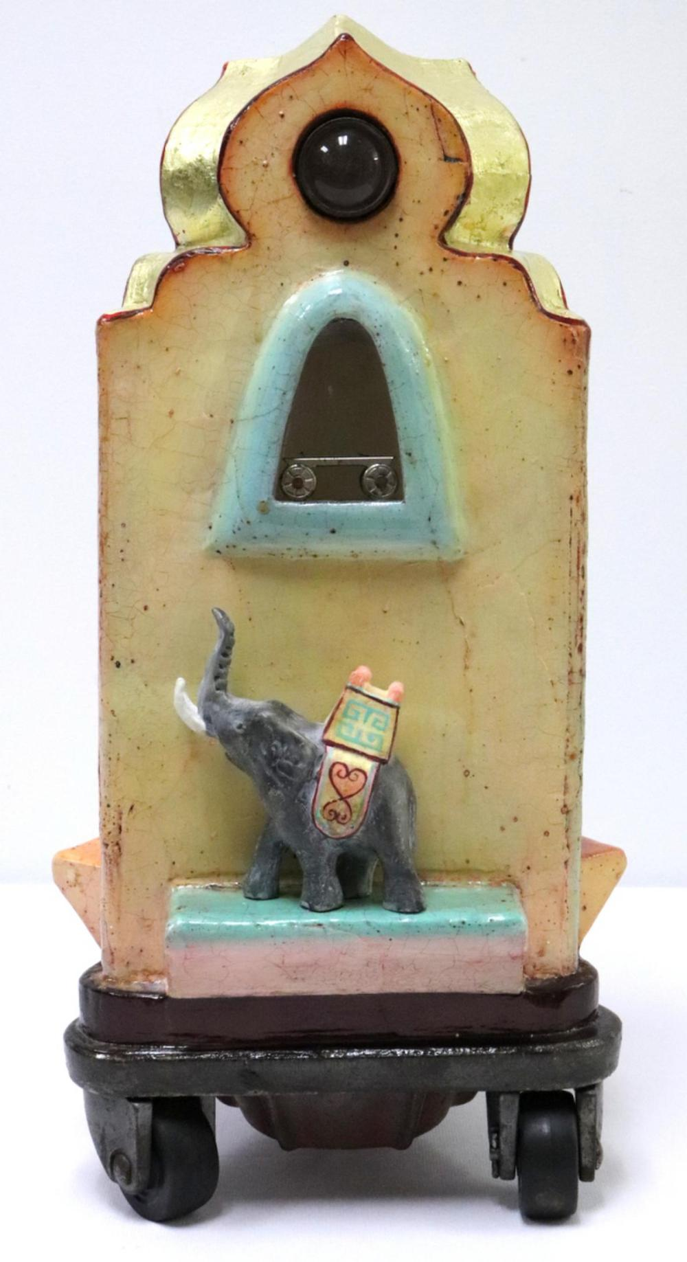 """Tracey Ladd """"The Elephant Whispers a Dream"""" Art Glass Sculpture"""