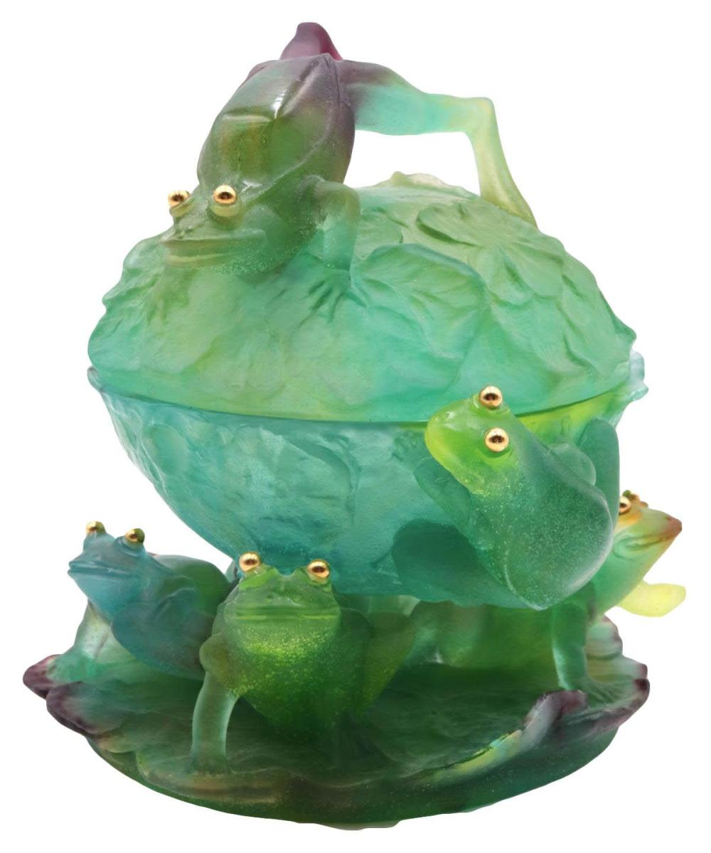 """Daum """"Frogs on Lily Pad"""" Crystal Covered Bowl"""