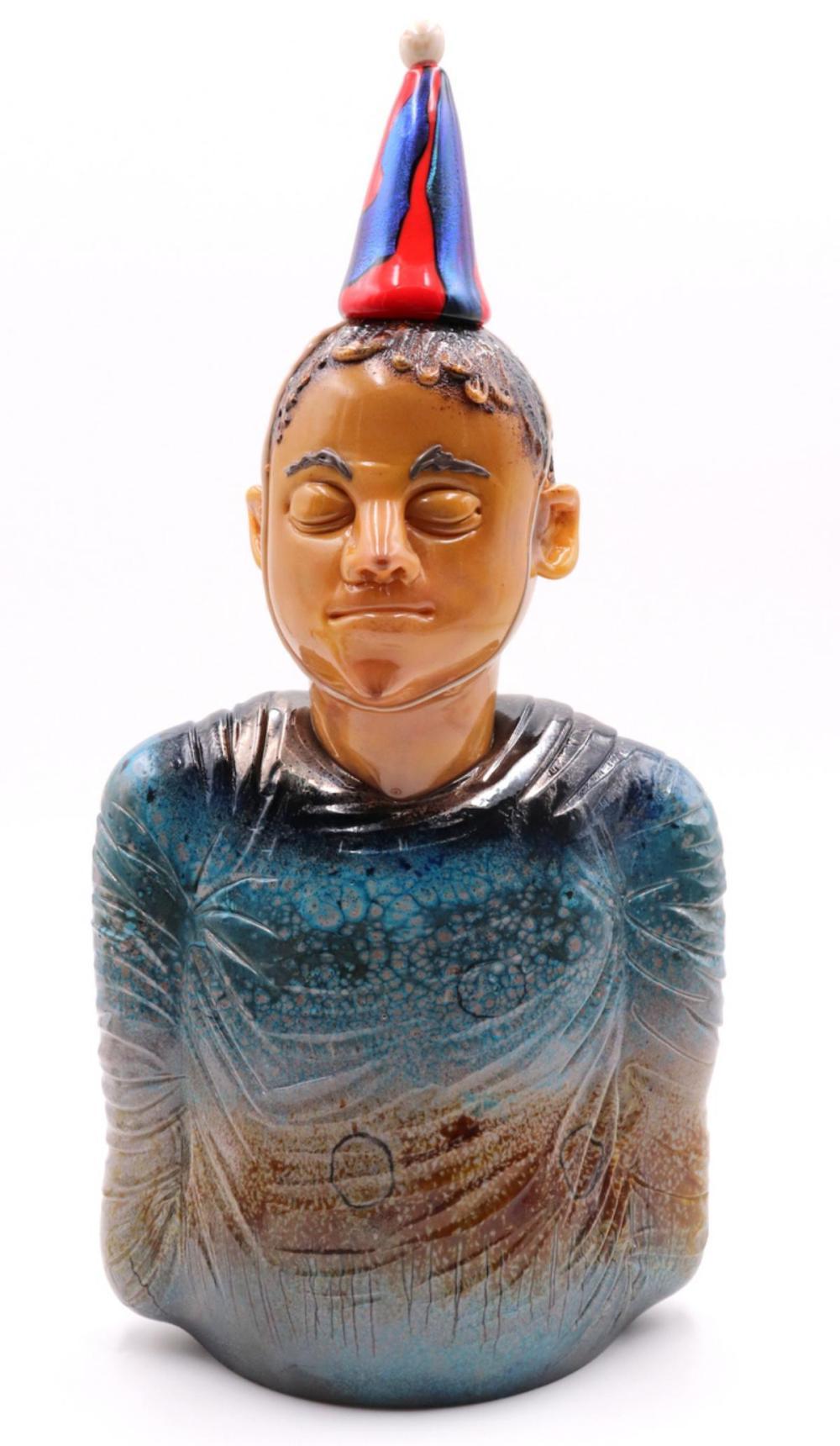 """Danny White """"Birthday Boy"""" Blown Art Glass Sculpture"""