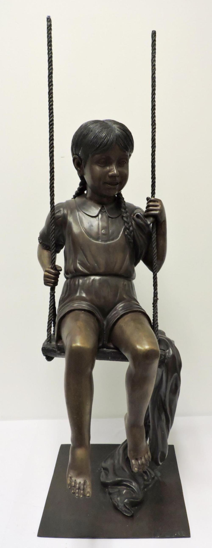 "Leonardo Rossi ""Child on Swing"" Bronze Sculpture"